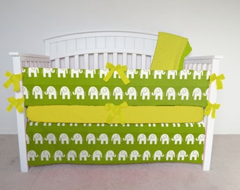 FREE SHIPPING - 4 Piece Crib Set - Elephant crib set, green elephant, lime elephant crib bedding