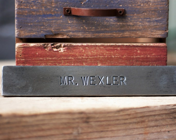 METAL WALL SIGN personalized steel name plate hand stamped steel metal sign personalised hand forged plaque 6th anniversary gift office sign
