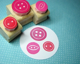 Sweet Three Button Set of 3 Rubber Stamps - Button Gift - Gift for Button Lover - Button Craft - Button Stamper - Gift for Mom