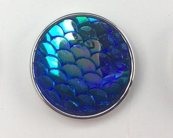 Iridescent Blue Mermaid Scale Jewelry Snap