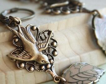 Bird leaf earrings - Autumn chestnut brown swallow brass earrings