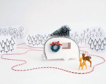 Happy Camper Putz Christmas Ornament DIY Kit Vintage Camper Christmas Decoration DIY Putz Retro Camper Christmas Craft Kit  Décor