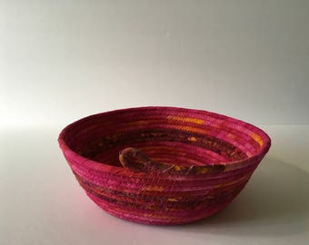 Pink Batik Coiled Rope Bowl, Fabric Bowl, Catchall Basket, Organizer Basket, Quiltsy Handmade
