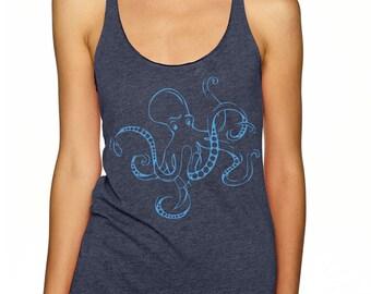 Octopus Women's Tank top   Racer-back   Octopus t-shirt  Scuba Diving T-Shirt   Women scuba diver gift   Ocean lover gift   scuba gift