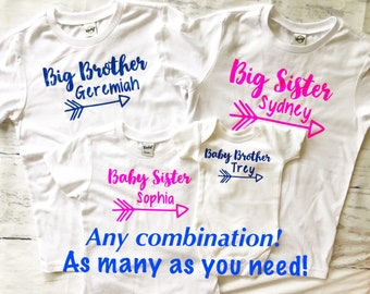 Sibling custom shirt set, Big brother, Big sister, baby sister, baby brother/Personalized sibling shirts/Pink and blue sibling shirts