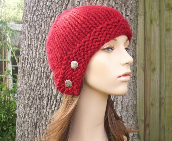 Knit Hat Womens Hat - Cloche Hat in Cranberry Red Knit Hat - Red Hat Red Beanie Red Cloche Womens Accessories Winter Hat
