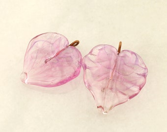 Lampwork Glass Leaf Beads,  Head Pins with Loop on 20Ga Antique Copper Wire, Pink