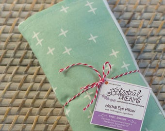 Organic Eye Pillow: w/ Chamomile, Lemon Balm, and Geranium. Yoga Essentials. Mint & White.