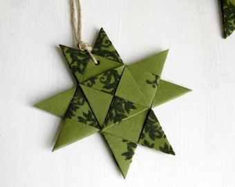 Star ornament handmade origami stylish green xmas