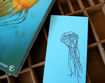 letterpress notebook jellyfish