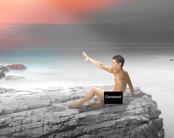 Reach! Gay Art Male Art Nude Photo Print by Michael Taggart Photography cliff stone rock outcropping promontory sea ocean gray grey