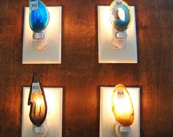 Geode Slice Nightlight, Agate Nightlight,  Geode Nightlight,  Oblong Nightlight, Geode Slice, Natural Stone, Round Night Light, Group R
