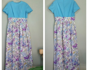 Vintage 1970's Maxi Dress, Polyester, Empire Waist, Floral Skirt, Size Large