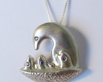 3D Bird nest silver pendant