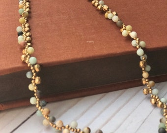 Women's Necklace - Amazonite and Golden Bead Necklace - Long Necklace for Her - Gift for Her-