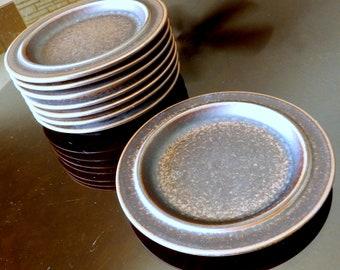"Set of Eight 1960s Arabia Finland ""Ruska"" Salad Plates--Ulla Procope Design--8"" Diameter"