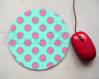 Mint with Pink Dot Mousepad, Office Mousepad, Computer Mouse Pad, Fabric Mousepad