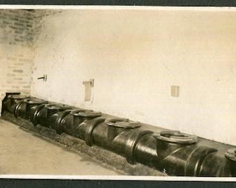 Vintage Snapshot Photo Row of Toilets in Latrine WW II Era 1940's, Original Found Photo, Vernacular Photography