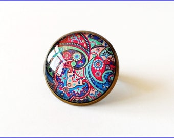 Ring cabochon 20 mm blue violet tone paisley
