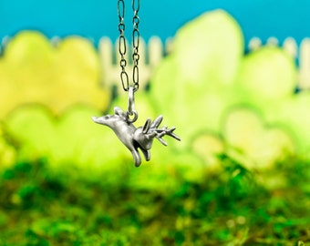 Behold! A Jackalope Necklace, The Incredible Handmade Little Bunny Charm in Sterling Silver, Bronze, or Gold