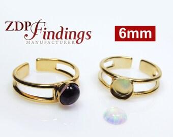 4pcs x Round 6mm Gold Plated Flat Bezel Setting Adjustable Ring (R6RDGP)