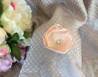 Flower 5 cm satin pink powder with Rhinestones