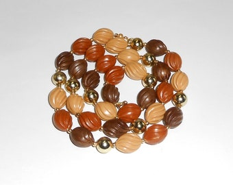 Brown Necklace / Unique Bead Strand Light Brown / Tan / Cinnamon / Caramel - f567