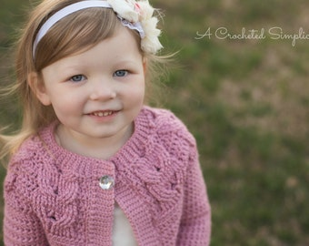 """Crochet Pattern: """"Southern Charm"""" Girls Cabled Cardigan 