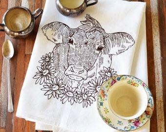 Tea Towel - Screen Printed Flour Sack Towel - Cow - Daisy - Absorbent Dish Towel - Eco Friendly Cotton - Classic Flour Sack - Kitchen Towel