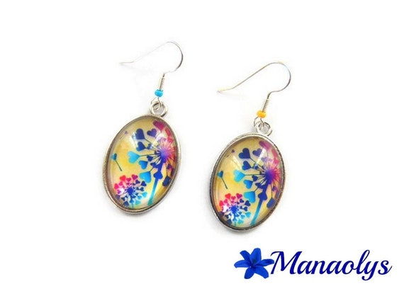 Colorful earrings, oval flower, blue, pink and yellow, dandelion, 3191 glass cabochons