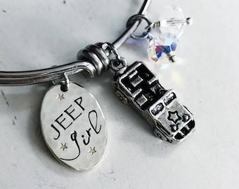 Jeep Girl Bangle - Trail Bracelet - Jeep Jewelry -  4x4 Charm