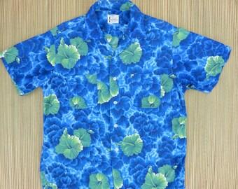 50s Vintage Hawaiian Shirt  SEARS Everglaze Minicare Made in Japan Aloha Shirt Hibiscus Elvis Luau Surf Mens - M - Oahu Lew's Shirt Shack