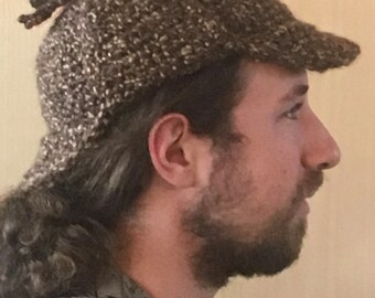 Brown and tan Sherlock Holmes hat, man's, deerstalker, winter, ear flaps, hunter, hunting, hiking, outdoor, detective, gifts for him