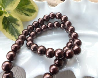 Set of 10 glass beads 10mm brown color Pearl