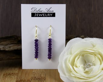 Amethyst Rondelle Gemstone Dangle Earring
