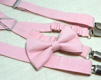 Blush Pink bow tie and Suspender Set for baby/toddler/teen/adult