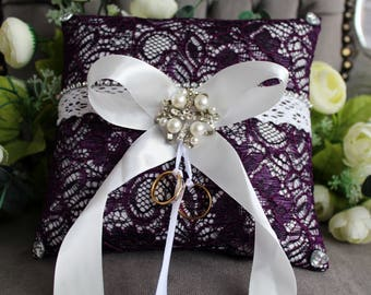 Wedding ring holder, Purple wedding ring pillow 21cm x21cm