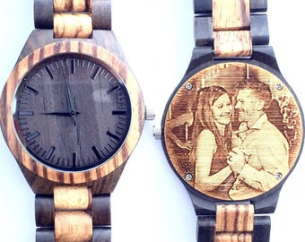 Photo Watch Engraved Photo- Wood Watch, Men's Wooden Watch, Mens Wood Watch,Wood Watches for him, personalize watch, Boyfriend Gift