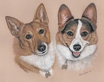 16 x 20 - Two pets - Pastel and Colored Pencil