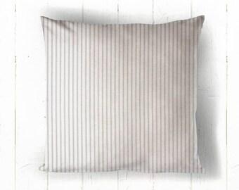 Grey Ticking Pillow Cover - Gray Stripe Pillow, Farmhouse Decor, Farmhouse Pillow, 16 x 16, 18 x 18