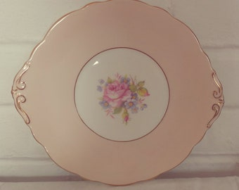 Stunning Vintage English Bone China Harrowby Peachy Pink and Gold Detail Bone China Cake Plate - Perfect for afternoon tea