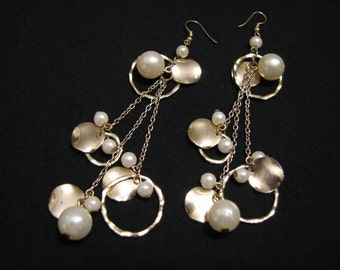 GIANT Vintage Gold Tone Chained White Faux Pearl Beaded Hammered Disc Dangle Pierced Earrings