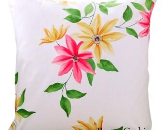 Sanderson Wisley Strawberry & Cream Cushion Cover