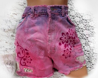 high waisted denim shorts - Boho denim shorts - OOAK shorts -hand painted shorts - pink denim shorts - free people shorts - size 10, # 11