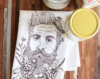Tea Towel - Organic Tea Towel - Screen Print Tea Towel - Flour Sack Towels - Kitchen Towels - Tea Towels - Tea Towel Flour Sack - Woodsman