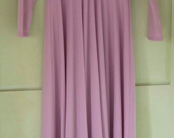 1970's dress true vintage in dusky pink with cape/ collar and full length sleeves.