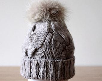 Womens pom pom hat, Cashmere wool fur pom pom hat, Chunky knit Winter hat, Merino wool, Hand knit hat, Knitwear