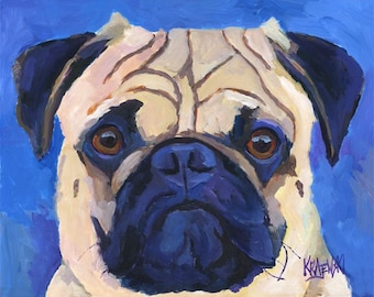 Pug Art Print of Original Acrylic Painting - 11x14
