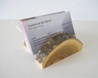 Adjustable Wood Business Card Holder Tree Branch Slice Rustic Wooden Card Holder. Take Down Design