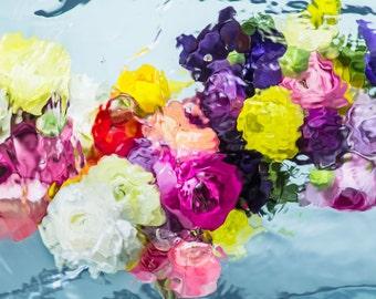 Large Art Print, Unframed Botanical Flower Art, Oversized Art Print, Blue, Pink, Yellow, Modern Art By Jessica Kenyon